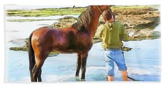 Do-00421 Washing Horse In Mina Bath Towel by Digital Oil