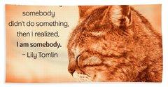 Do Something - Orange Cat Hand Towel