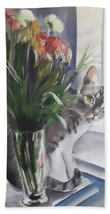 Do You See Me? Pet Portrait In Watercolor .modern Cat Art With Flowers  Bath Towel
