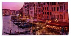 A Cityscape With Vintage Buildings And Gondola - From The Rialto In Venice, Italy Bath Towel