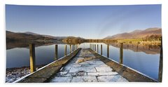 Dock In A Lake, Cumbria, England Hand Towel