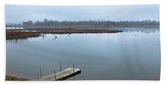 Dock On A Serene Lake Hand Towel