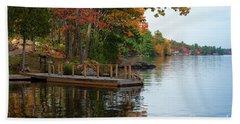 Dock On Lake In Fall Bath Towel