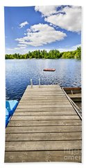 Dock On Lake In Summer Cottage Country Hand Towel