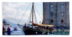 Docking In Dubrovnik Harbour Bath Towel