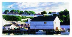 Hand Towel featuring the painting Dockside by Desiree Paquette