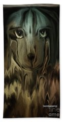 Hand Towel featuring the digital art  Dog Art  Sad Eyes by Sherri Of Palm Springs