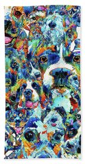 Bath Towel featuring the painting Dog Lovers Delight - Sharon Cummings by Sharon Cummings