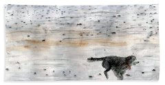 Hand Towel featuring the painting Dog On Beach by Chriss Pagani