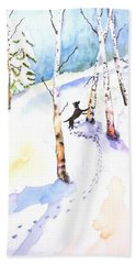 Dog Play In Snow Forest Hand Towel