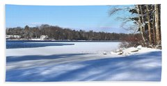 Dog Pond In Winter 1 Hand Towel