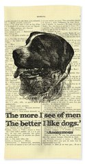 Dog Quote Art Print, I Like Dogs Hand Towel