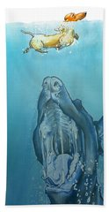 Dog-themed Jaws Caricature Art Print Bath Towel