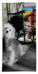 Doggie In The Patio Painting Hand Towel