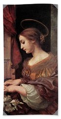 Dolci Carlo St Cecilia At The Organ Hand Towel by Carlo Dolci