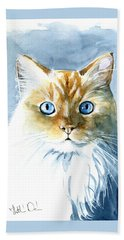 Doll Face Flame Point Himalayan Cat Painting Hand Towel