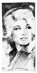 Dolly Parton Bw Portrait Hand Towel by Mihaela Pater
