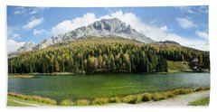 Dolomite Mountain Lake Panaorama Bath Towel