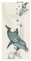Dolphin And Two Friends Bath Towel