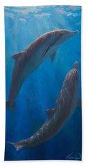 Dolphin Dance - Underwater Whales - Ocean Art - Coastal Decor Hand Towel