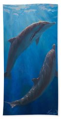 Dolphin Dance - Underwater Whales - Ocean Art - Coastal Decor Bath Towel