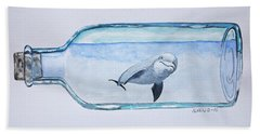 Dolphin In A Bottle Hand Towel by Edwin Alverio