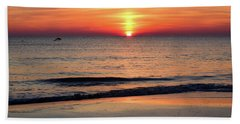 Dolphin Jumping In The Sunrise Hand Towel