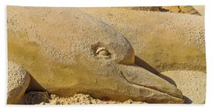 Hand Towel featuring the photograph Dolphin Sand Castle Sculpture On The Beach 799 by Ricardos Creations
