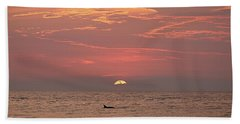 Dolphin Swims At Sunrise Hand Towel