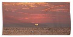 Dolphin Swims At Sunrise Bath Towel