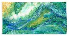 Bath Towel featuring the mixed media Dolphin Waves 2 by Carol Cavalaris