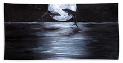 Dolphins Dancing Full Moon Hand Towel