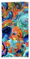 Dolphins Playing In Peonies Bath Towel