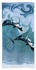 Dolphins Playing In The Waves Hand Towel