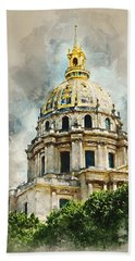 Hand Towel featuring the digital art Dome Des Invalides by Kai Saarto
