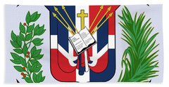 Dominican Republic Coat Of Arms Bath Towel by Movie Poster Prints