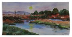 Bath Towel featuring the painting Don Edwards San Francisco Bay National Wildlife Refuge Landscape 1 by Xueling Zou