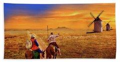Don Quixote And The Windmills Bath Towel