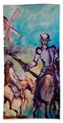 Don Quixote With Windmill Bath Towel