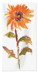 Door Keeper Sunflower Watercolor Painting By Kmcelwaine Bath Towel