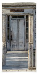 Door Of The Old Bannack Schoolhouse And Masonic Temple Bath Towel