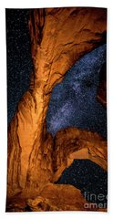 Double Arch And The Milky Way - Utah Bath Towel by Gary Whitton