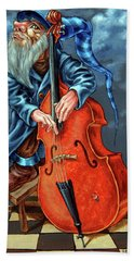 Double Bass And Bench Hand Towel