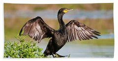 Double-crested Cormorant Bath Towel by Gary Lengyel