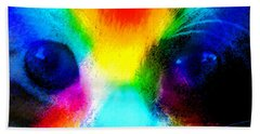 Bath Towel featuring the painting Double Rainbow Cat by David Lee Thompson