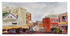 Downtown Amesbury Ma Circa 1920 Hand Towel