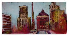 Bath Towel featuring the painting Downtown Asheville Painting Pack Square North Carolina City  by Gray Artus