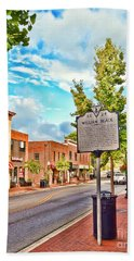 Downtown Blacksburg With Historical Marker Bath Towel