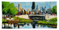 Downtown Chicago From Lincoln Park Hand Towel
