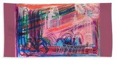 Hand Towel featuring the painting Downtown Cincinnati by Diane Pape